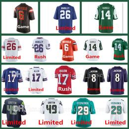2018 Men Draft First Round Pick Jerseys 6 Baker Mayfield 26 Saquon Barkley Sam Darnold Josh Allen Lamar Jackson Fitzpatrick Griffin Jersey