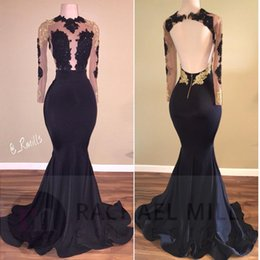 African Black Girls Sequined Dresses Mermaid Prom Dresses Long Illusion Sleeves Gold Applique Backless Beads Formal Dress Evening Wear