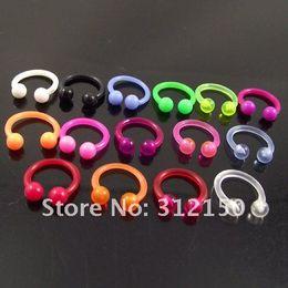 100pcs Body Jewelry flexible Nose Ring 16G Soft Sprike Circulars Horseshoes Eyebrow Rings body Navel Piercing