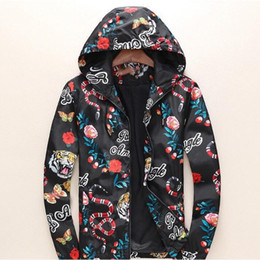 Fashion Designer Jacket Windbreaker Long Sleeve Mens Jackets Hoodie Clothing Zipper With Animal Letter Pattern Casual Coats Plus Size Clothe