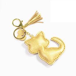 Creative cartoon cat PU Leather bag pendants 3D filling cotton key chains Tassel bag pendants Accessories wholesale