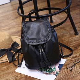 Women Casual Backpack Leather Tassels Black Drawstring Bags Girls School Shoulder Bag