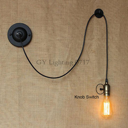 Bedside Reading Studying DIY art decor industrial wall lights luminaire Knob Switch loft Wall sconces lighting fixture 1.1m 1.5m 2m cable