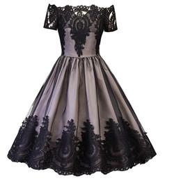 Women 1950s 60s Vintage Dresses Patchwork Backless Lace Mesh Short Sleeve Slash Neck Retro Elegant Black dresses DK4096SY Dorp shipping