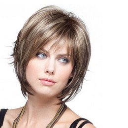 8 inches women Fashion Sexy Medium&Short Natural Straight Wigs Central Parting BOBO Highlights Hair Full Wig Ladies Girls Gifts