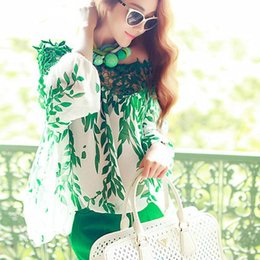 Elegant Lady Chiffon Green Leaf Printe Hollow Boat Neck Loose Casual Tops Blouse