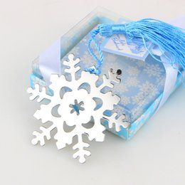 Book Marker Snowflake Bookmarks Winter Flower Pendant Gifts Tassel Favors Thanksgiving Christmas Birthday Gift With Gift Box free shipping