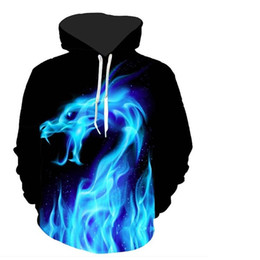 Youthcare Hoodie for Men and Women 3D printed Ice Dragon Hoodie Oversize Pullover Long sleeve tops Sweater