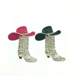Western Cowboy Boots Brooch and Red Hat brooch Pin Charm Enamel Jewelry