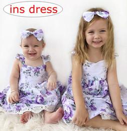ins summer floral print dress baby girl clothes kids boutique clothing girls flower printed dresses children beach dress vintage lace dress