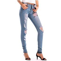 Hodisytian Fashion Women Jeans Mid Waist Denim Pants Capris Hole Embroidery Pencil Pants Stretch Slim Trousers Pantalon Femme