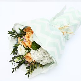 Chevron Flower Wrapping Wax Paper Korean Gift Flower Packaging Paper Florist Bouquet Gift Packaging Material 20 Sheets 60*60 cm haif