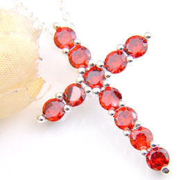 LuckyShine Fashion European Lovers New Cross Red Cubic Zirconia Gems Crystal 925 Sterling Silver 5 Pcs  lot Wedding Pendants +Chain