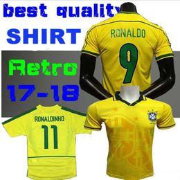 1994 1998 2002 Classic Vintage Brazil Home Yellow Soccer Jersey Carlos Romario Ronaldo Ronaldinho Rivaldo 94 98 02 Custom Football Shirt