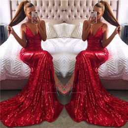 Spaghetti Straps Sexy V-neck 2018 Sexy Prom Dresses Red Champagne Gold Sequins Formal Evening Gowns Cheap BA7769