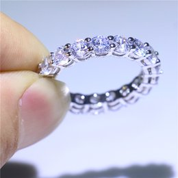 White Gold Filled Engagement Ring 18Pcs AAA Diamonique CZ Round Crystal Fashion Jewelry Ring Gift For Women Size 5-10
