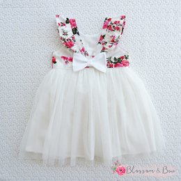 2018 INS hot baby girl kids Toddler Infant Rose Floral Tutu Dress Strap hollow Back Dress Summer clothes clothing Sleeveless Bow Cute
