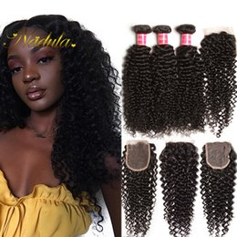 Nadula Peruvian Hair Bundles With Closure Kinky Curly Human Hair Weave Bundle With Closure Virgin Hair Extensions With Lace Closure Wholesal