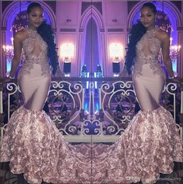 2018 Black Girls Satin Mermaid Long Prom Dresses 3d Floral Applique Skirt Lace Applique Beaded Halter Neck Formal Party Evening Gowns Custom