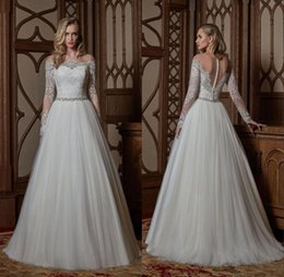 Custom Made New Weddding Dresses Elegant Off the Shoulder Long Sleeve Covered Buttons Back A Line Court Train Bridal Gowns