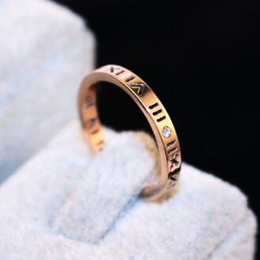 New 18K rose gold Rome single Zircon ring finger ring titanium stainless steel ring joint for Women Fine Jewelry Party Wedding Costume