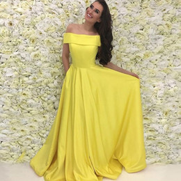 Elegant Fuchsia Satin Long Prom Dresses Bateau Neck Off Shoulder Prom Dresses Custom Made Simple Yellow Evening Gowns Fast Shipping