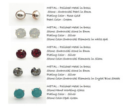 SILVER EARRING STUD WITH SWAROVSKI ELEMENTS STONE AND HAND WORKING GLASS STONE IN HIGH QUALITY LEVEL FOR WOMEN ON WHOLESALE