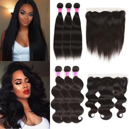 Raw Indian Virgin Human Hair Straight Body Wave Bundles With Lace Closure Brazilian Peruvian Human Hair Bundles With Frontal Hair Weaves Hot