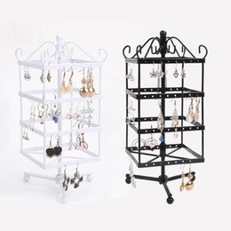 Wholesale High Quality Black White Rotating Metal Earring Display Stand Holder Rack For 128 Holes