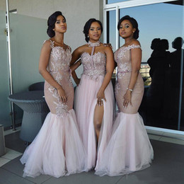 Mixed Style Long Bridesmaid Dresses Floor Length Appliques Sash Robe De Soiree Prom Dress Lace Nigerian Dresses