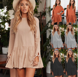 Base style pure color linen and cotton dress above the knee with waist drawstring easy to match