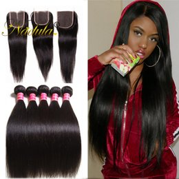 Nadula Human Hair Bundles With Closure Malaysian Virgin Hair Extension Human Weave Bundles Brazilian Straight Hair Bundles With Lace Closure