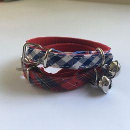Free shipping pet cat kitten collar classic pattern with safety collar for cat kitten elastic belt velvet lining red blue 50pcs lot