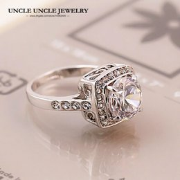 White Gold Color Royal Design Zirconia Crystal Square 4 Prong Woman Finger Ring Wholesale Gift