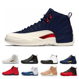 with box designer 12 men Basketball Shoes Bulls taxi College Navy Michigan UNC White Black flu game the master Sports shoe trainer Sneaker