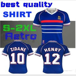 1998 FRANCEES RETRO home jersey 98 Thailand Quality retro RETRO VINTAGE 10 ZIDANE 12 HENRY MAILLOT DE FOOT uniforms Football Jerseys shirt