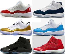 "2018 With Box + Number ""45"" 11 Spaces Jams Basketball Shoes for Men Women Gym Red 11s Sport Sneakers Midnight Nav"