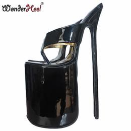 """Wonderheel 12"""" heel extreme high heel 30cm stiletto heel with platform black patent Sexy fetish flip flops slip on sexy sandals"""