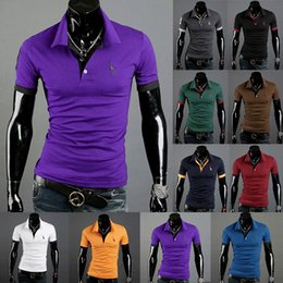 wholesale Summer Mens Polo Shirts Soild sports Cotton Sweat Short Sleeve Camisas Polo Slim Male fashion t-Shirt outwear ten colors hot sale