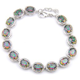 Optional Color 2PCS   Lot High Quality Oval Shaped Natural Mystic Topaz Gemstone Wedding Chain Bracelet