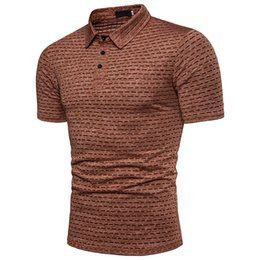 Men's POLO shirt African style ion jacquard comfortable breathable short sleeves
