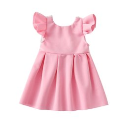 2018 new summer Baby girls lace Flutter dress Children princess dresses Pageant Holiday kids Boutique clothing