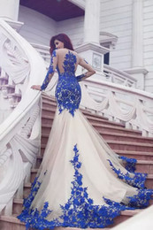 2018 New Arrival Long Sleeve Royal Blue Lace Evening Dresses Mermaid Tulle Prom Gowns Vestidos De Fiesta