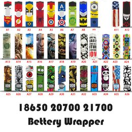 65 designs for OBD 18650 20700 21700 battery Wraps PVC Sticker Shrinkable Wrap Cover Sleeve Heat Shrink Re-wrapping for Batteries Wrapper