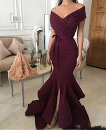 2018 Dark Red Evening Dresses New Fashion Mermaid Off-shoulder Satin Long Formal Prom Wear Split Party Dresses For Women Plus Size