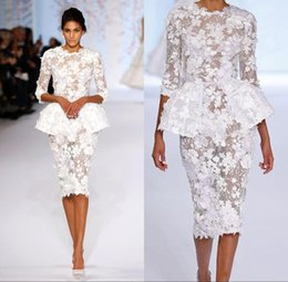 2018 White Dresses Cocktail Wear Long Sleeve Elie Saab Short Prom Lace Floral Haute Couture Ralph Russo Peplum Sheath Formal Gowns BA7605