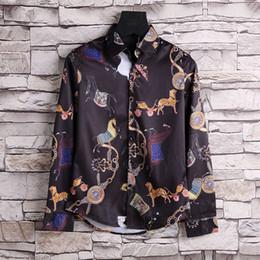 2018 autumn and winter Harajuku Medusa chain dog rose print shirt fashion retro flower polo shirt polo men's long-sleeved shirt