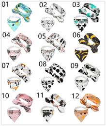 INS hot Set 2pcs baby infant triangle Bandana bibs cartoon bibs burp cloths Pure cotton double layer bibs bandana scarf with Headbands KSF19