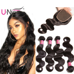 UNice Hair Peruvian Body Wave Human Hair Bundles With Closure Virgin Human Hair Extensions Remy Human Weave Bundles With Lace Closure Bulk