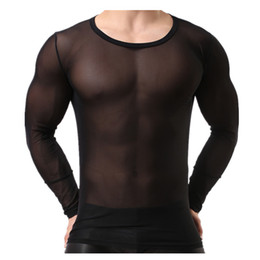 Wholesale Sexy Men T Shirt Transparent Mesh Tops Tees Nightclub Tshirt Singlet Gay Male Casual Clothes T-shirt